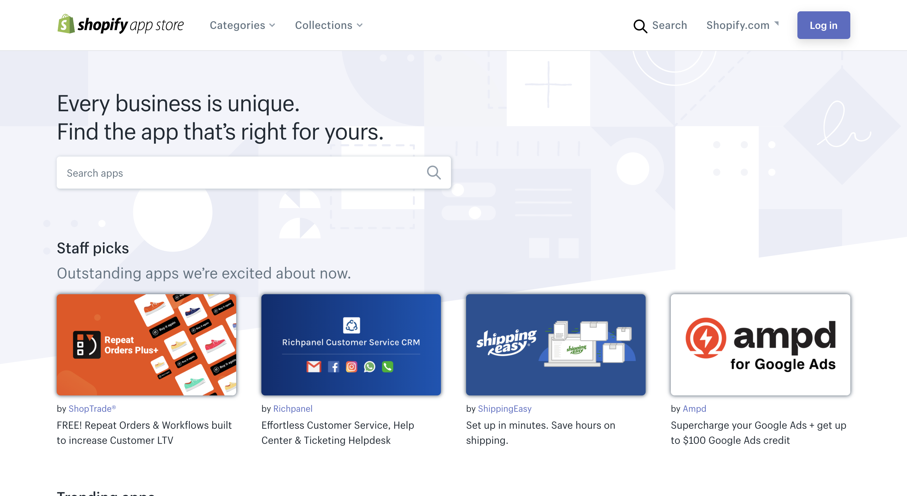 shopify app store page