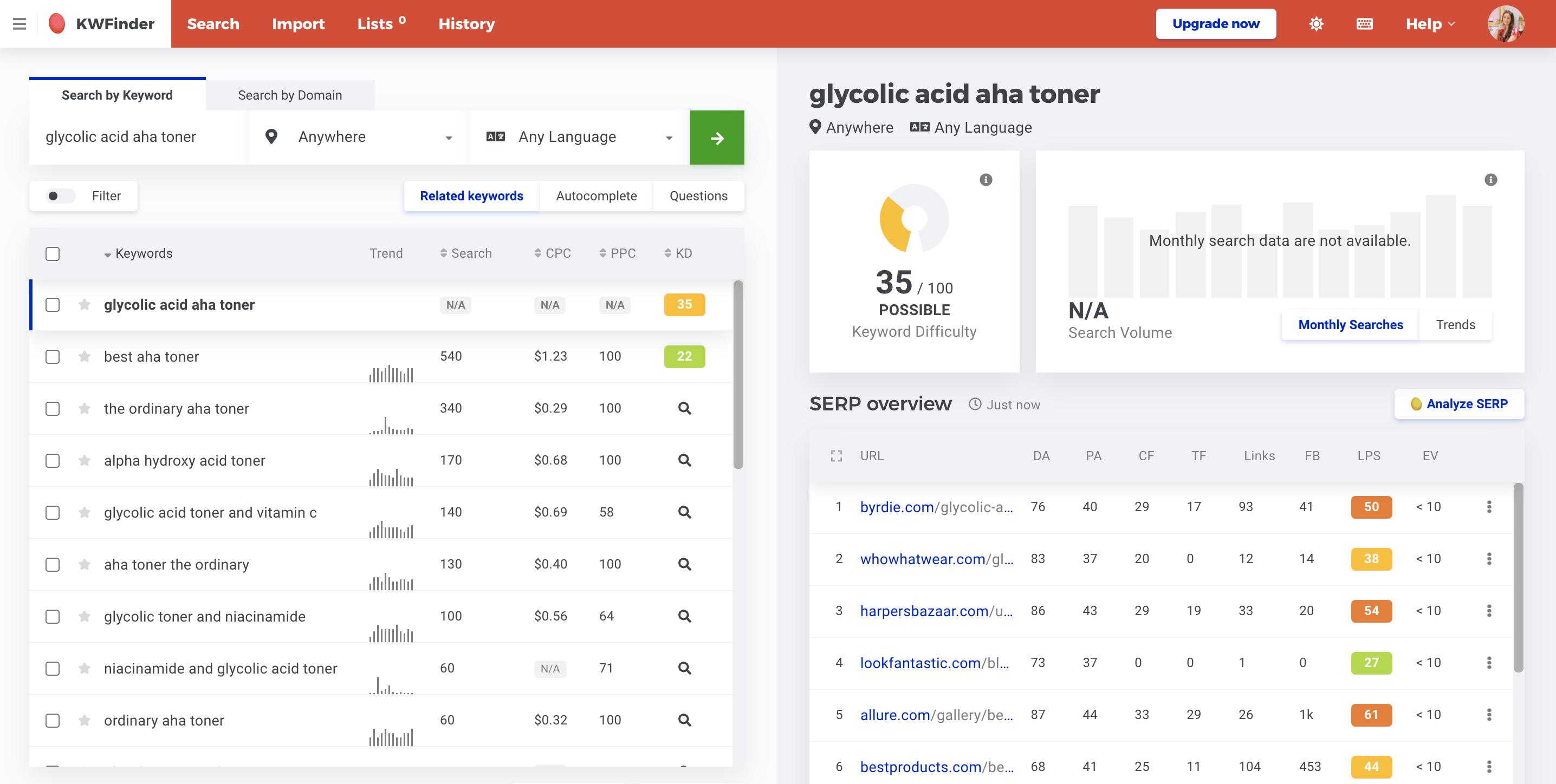 Keyword finder tools