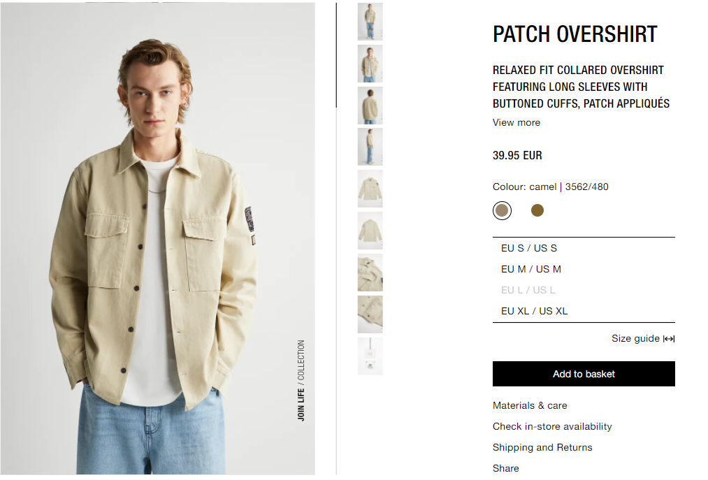 patch shirt product page